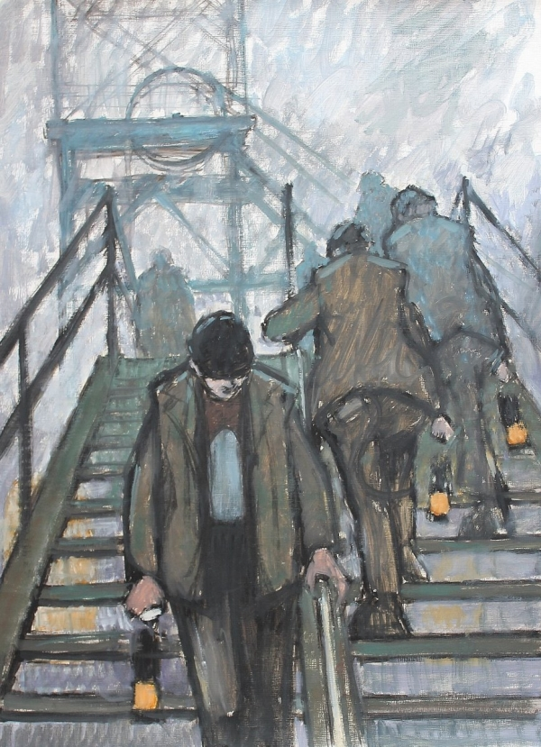 Miners on the gantry with lamps