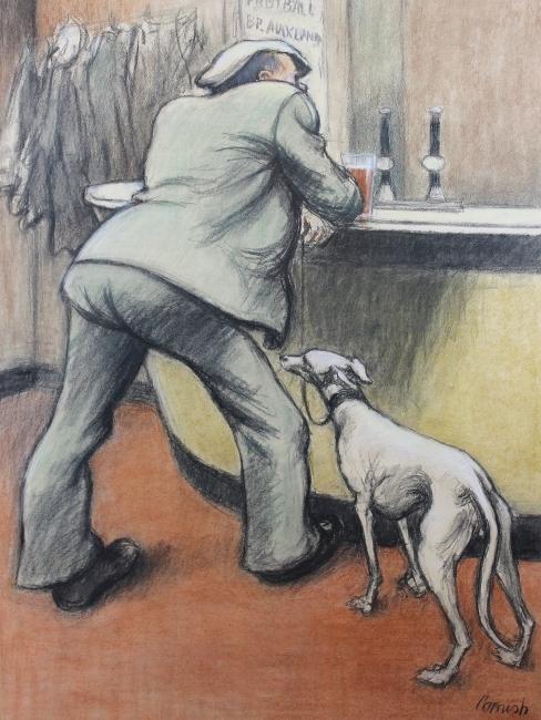 Norman Cornish. Man with a Greyhound