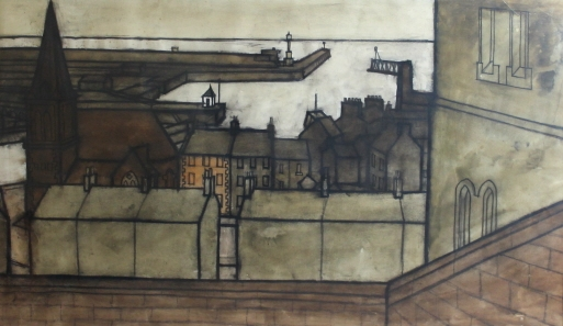 Percy Kelly, Maryport, Pastel and Watercolour 16 x 28 inches