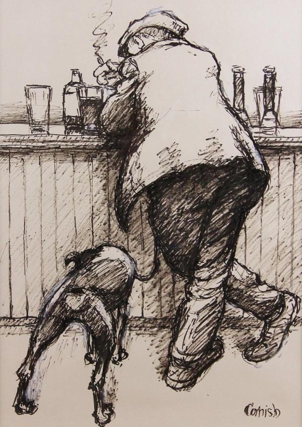Norman Cornish, Man at Bar with Dog
