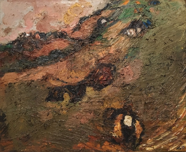 Sheila Fell (RA) Landscape with man carrying corn
