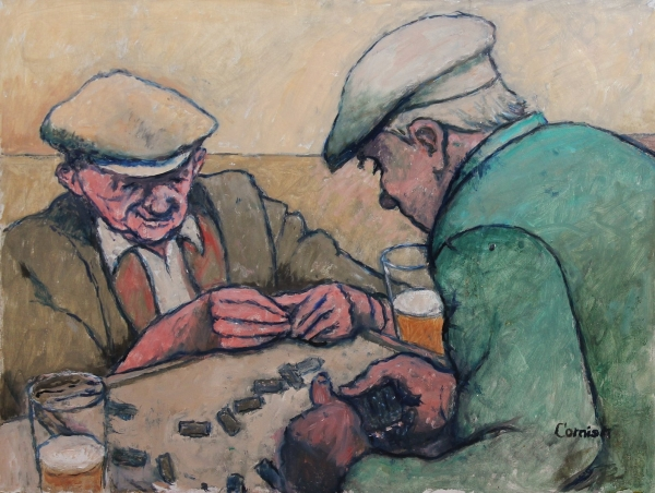 Two men playing dominoes