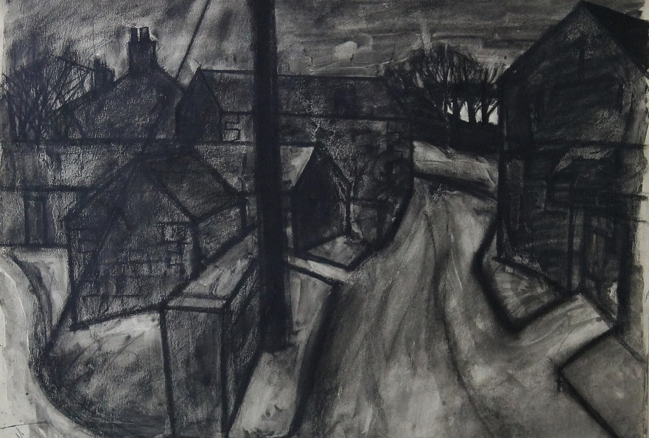 West Cumbrian Village Street by Percy Kelly