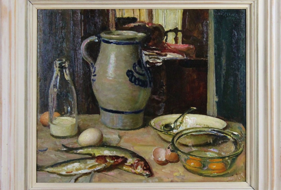 Still life with eggs and fish by William Charles Penn RI