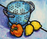 Colander with pepper and lemons