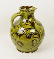 Large green slip-trailed tulip jug