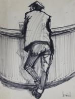 Man leaning at bar