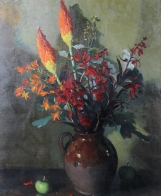 Still life with red hot pokers