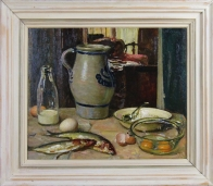 Still life with eggs and fish