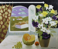 Still Life with Flowers and Fruit by an Open Window