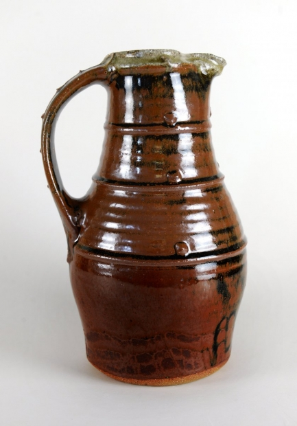 Baluster jug, bands and pellets, tenmoku and ash glazes by Jim Malone