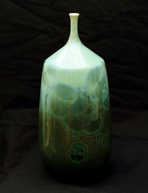 Tapered bottle ii, reef green glaze by John Stroomer