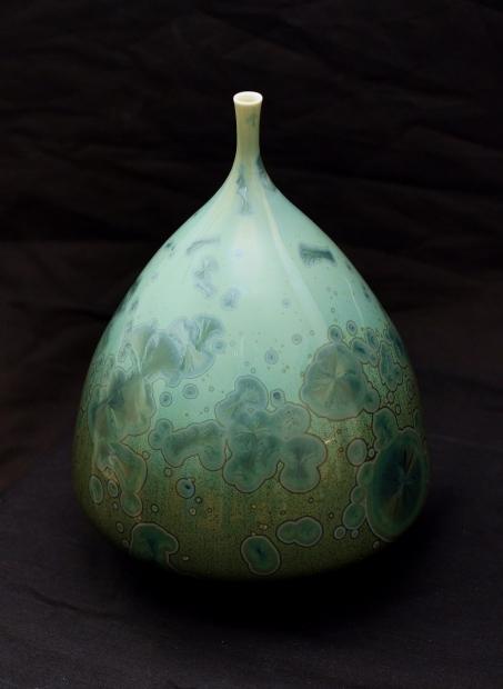 Tapered bottle iii, reef green glaze by John Stroomer