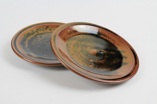 Pair of tenmoku dishes by Edward Hughes
