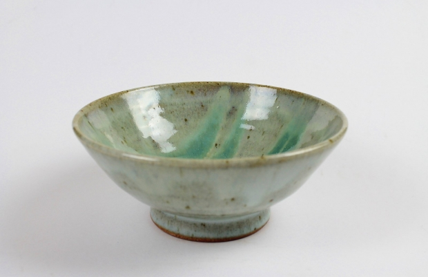 Small-medium green and white glazed bowl by Edward Hughes