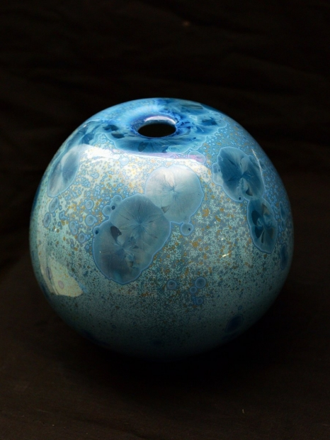 Inverted vase, light blue glaze by John Stroomer