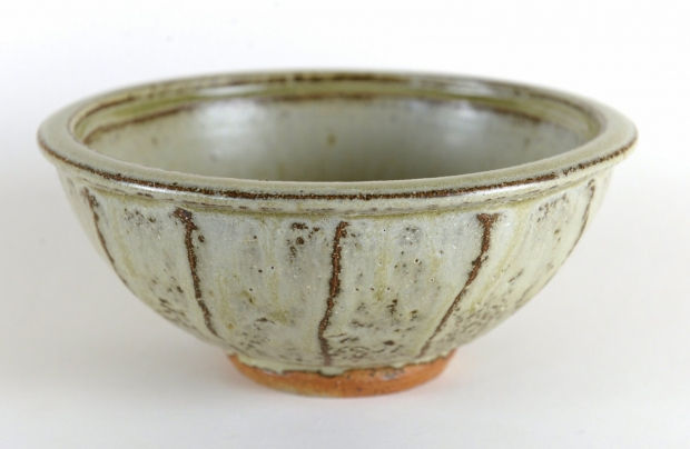 Cut sided bowl, beech ash glaze by Jim Malone