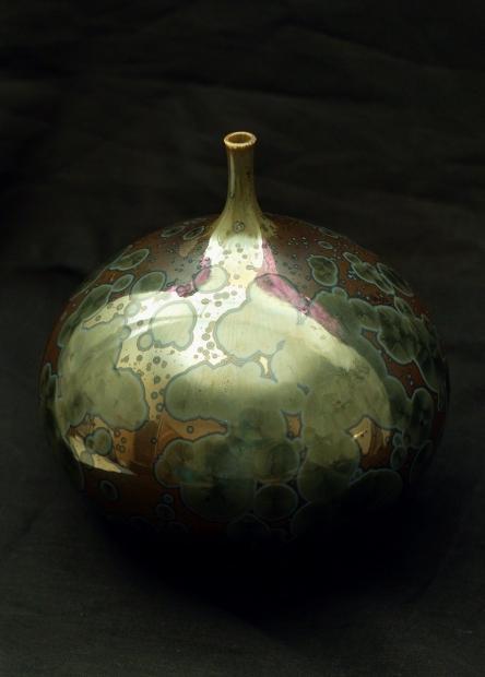 Narrow neck bottle, lichen glaze by John Stroomer
