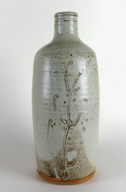 Cylinder bottle, engraved grasses, hawthorn ash glaze by Jim Malone
