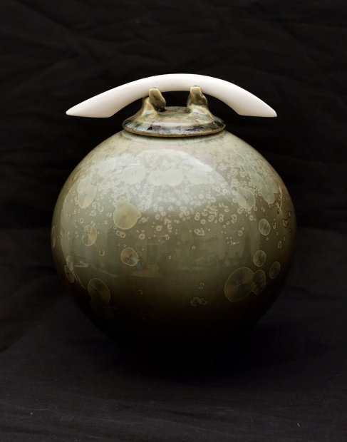 Ovoid jar with blade, lichen glaze by John Stroomer