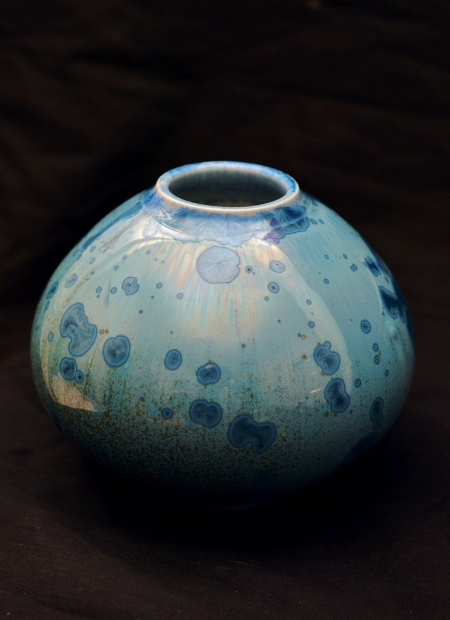 Ovoid jar, light blue glaze by John Stroomer