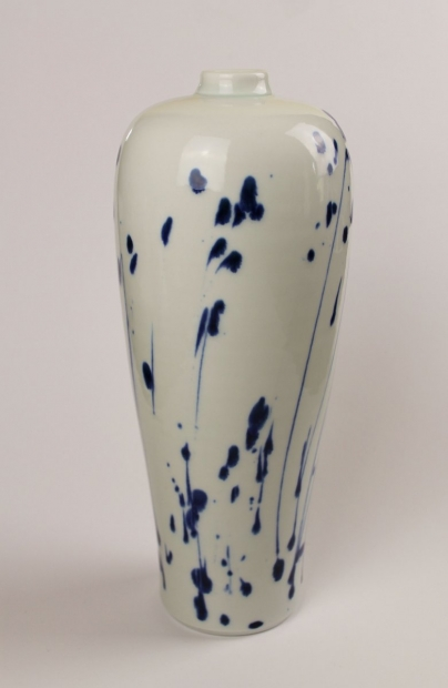 "Large Pinch Necked Bottle, ""In Full Flower"" by Ivar Mackay"