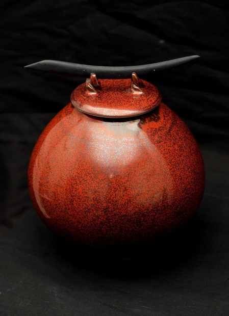Ovoid jar with blade, oil spot glaze by John Stroomer