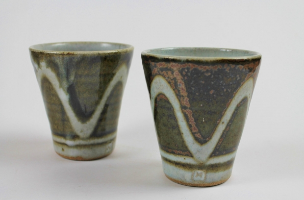 Pair of wave beakers by Edward Hughes