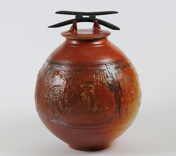 Shino Lidded Vessel with Blades 2 by John Stroomer