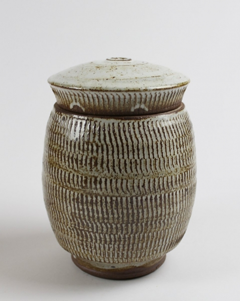 Textured Barrel Jar, Brushed River Silt and White Glaze by Tim Lake