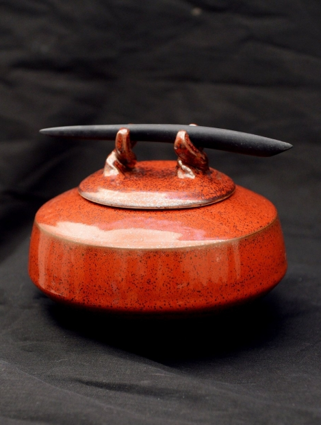 Small jar with blade, oil spot glaze by John Stroomer