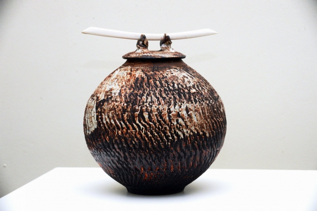 Dry Shino Lidded Vessel with Blades  by John Stroomer
