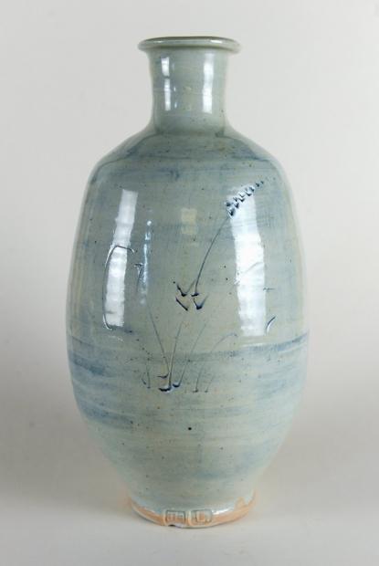 Porcelain bottle, engraved grasses, cobalt wash by Jim Malone