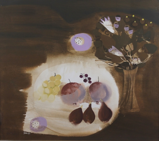 Still Life with Grapes and Figs - 1977 by Mary Fedden  RA
