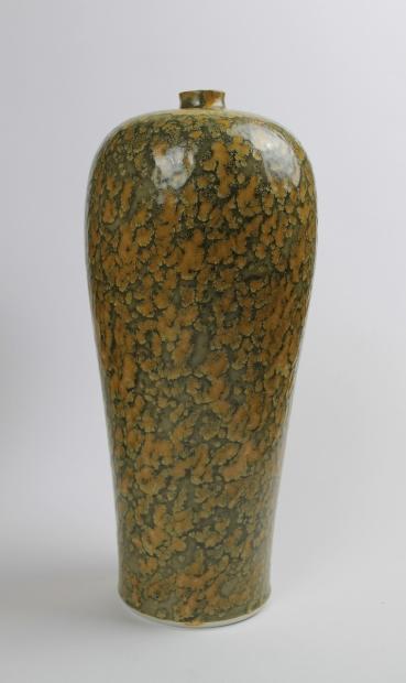 Tall pinch neck bottle vase with lichen design, textured iron glaze by Ivar Mackay