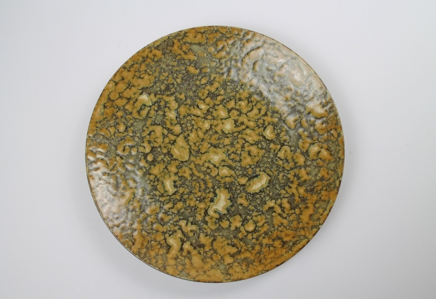 Medium plate, Lichen design, mossy textured iron glaze by Ivar Mackay
