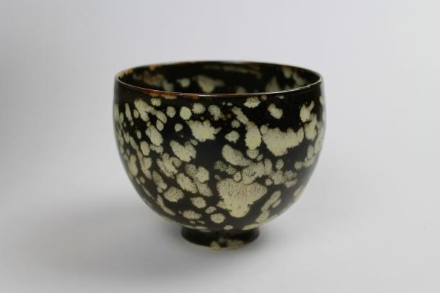 Chalice - Dappled Light III. Tenmoku glaze, cream markings with iron break at rim by Ivar Mackay