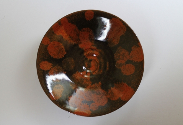 Medium low swirl bowl, spotted russet iron glaze by Ivar Mackay