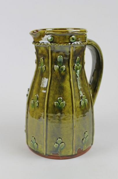 Applique green tapered jug by Doug Fitch