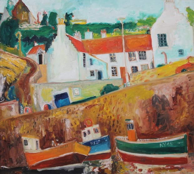 Crail Harbour - 1997 by John Bellany (RA, CBE)