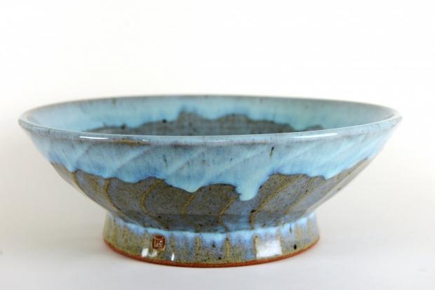 Dripped blue glazed bowl by Edward Hughes