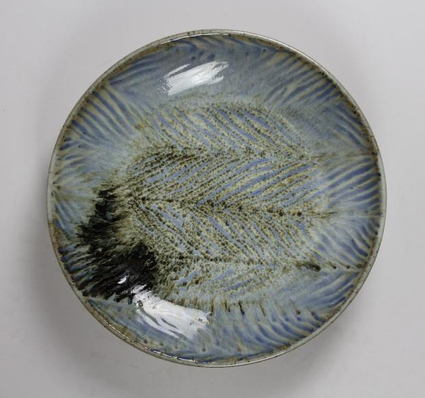 Blue chevron dish by Edward Hughes