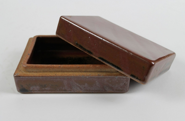 Rectangular stoneware box by Edward Hughes
