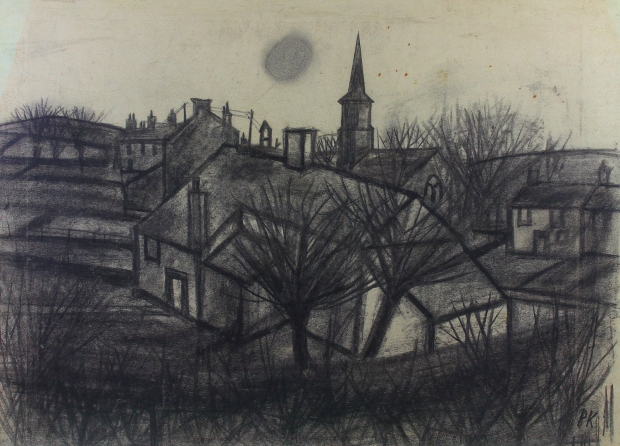 Church on the green by Percy Kelly