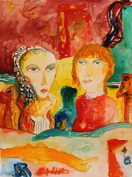 Couple with red hair and scarf by John Bellany (RA, CBE)