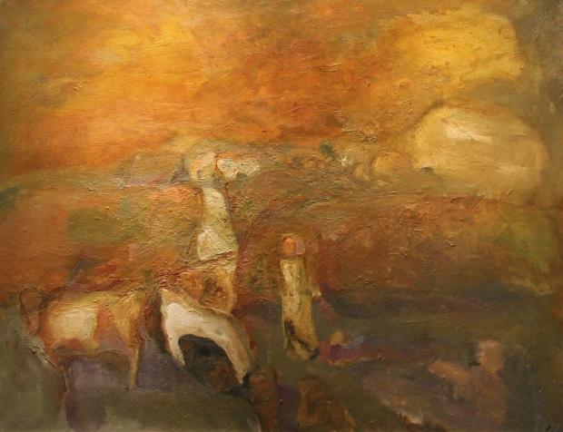 Cows on Brayton Road by Sheila Fell RA FRSA