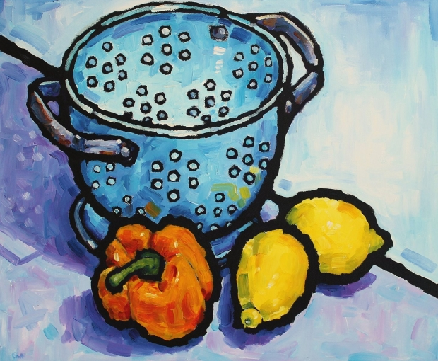 Colander with pepper and lemons  by Malcolm Croft