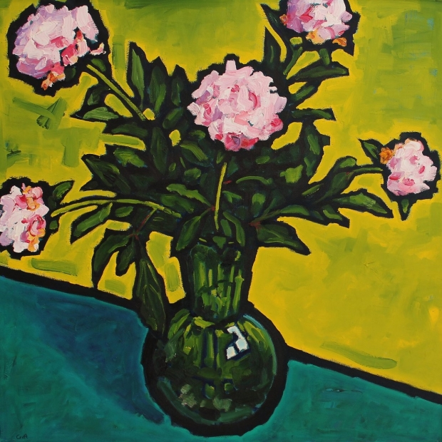 Peonies in a green glass vase by Malcolm Croft