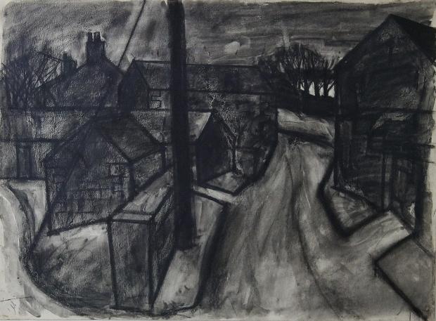 West Cumbrian Village Street by Percy Kelly