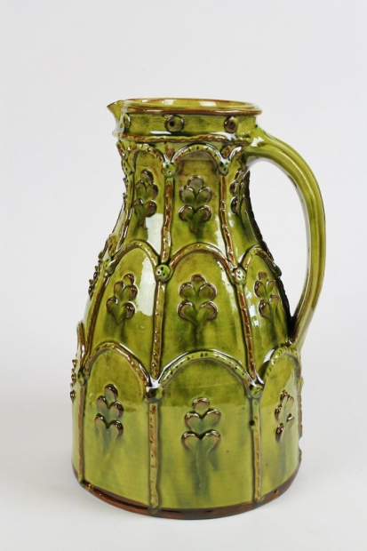 Green slipware applique tapered jug  by Doug Fitch